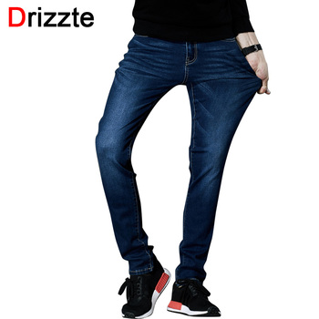 Drizzte Jeans Mens Brand High Quality Stretch Blue Denim Jeans Fashion Pleated Pocket Trousers Pants Size 33 34 35 36 38 40 42