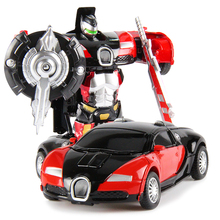 Transformation Robot Car Toy Diecast & ABS 12cm Transformation Robots Sports Cars Model Pull Back Mini Toys For Children Gift