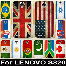 AKABEILA Retro UK Mexico Russia Brazil National Flag Soft TPU & Hard PC Phone Cases For Lenovo S820 Covers S 820 Bags Skin Shell