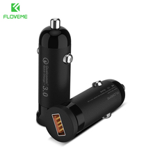 FLOVEME Quick Mini 3.0 USB Car Charger 3A Fast Charging Mobile Phone Travel Adapter Cigar Lighter DC 12V-21V Car Phone Charger(China)