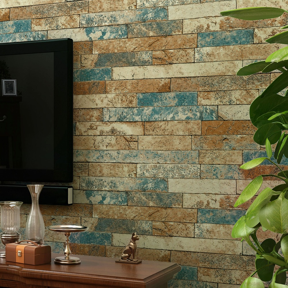 Modern Country Stone PVC Wall Paper 3D Brick Textured Decor papel de parede<br>