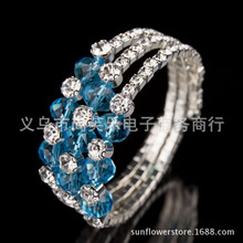 Wholesale 2PCS Jewelry Gift Women's Choose Hot Fashion 3 Row More Colors blue Crystal Rhinestone Acryl Bracelet