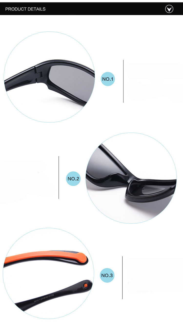 No easily broken Kids TR90 Polarized Sunglasses Children Safety Brand Glasses Flexible Rubber Oculos Infantil (3)