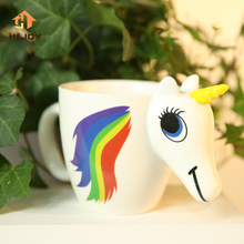 Cartoon Unicorn Mug Discoloration Cup For Dropship 3D Unicorn Cup caneca Magic Mug color changing Magical Horse Cups Coffee Cup(China)