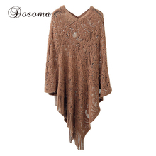 Tassels Autumn Crochet Poncho Women Long Black Red Pullover Sweaters Tricot Loose V-neck Hollow Out Sweaters Winter 2017(China)
