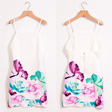 New Arrival Women Summer Sexy Floral Pattern Print Backless Mini Sling Bodycon Sheath Dress