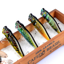 2017 New 4Pcs Popper Fishing Lures Crankbaits Floating Fishing Tackle Wobblers 3D eyes ABS Plastic Hard Bait 6# Hook 94mm 12.1g(China)