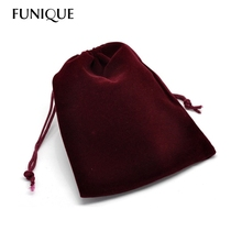 12x10cm Dark Red Jewelry Bag Velvet Pouch Gift Bags With Drawstring Jewellery Packaging Wholesale Lots 10PCs Jewelry Pouches