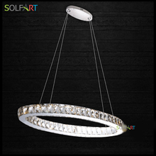 Lamp Parlor Pendant Lights Led luminaire Round Lamps Crystal Stainless Steel Lampara Hanglamp Modern Foyer For Room Dining(China)