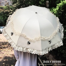 New ! fancy korean lace foldable uv proction sun umbrella with sunscreen women black coating clear lace umbrella with backpack