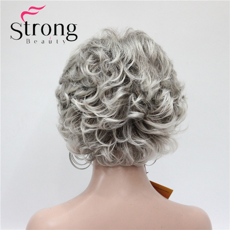 E-7125 #48T New Short Wig Wavy Curly Grey Mix Brown Women's Synthetic Hair Full Wig Thick (4)