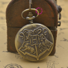Hogwarts School Badge Harry Potter Pocket Watch Quartz H fob Watches Men with Necklace Chain woman bronze vintage retro new(China)