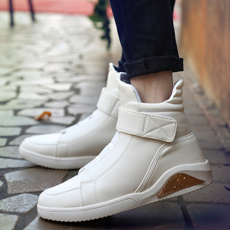 KUYUPP Size39-45 mens casual shoes pu leather white shoes rubber sole men shoes winter boots chaussure homme solid Y98<br>