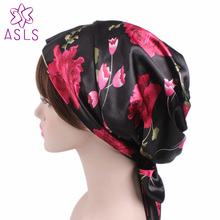 New Arrival High quality Satin Head Scarf Sleep Bonnet Silky Head Covering Head Wrap Ladies Hair Scarf Cap for women(China)