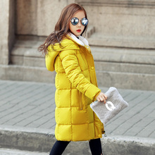 Childrens Girl Winter Coats Kids Girl Winter Jacket Coat Big Girls Warm Hooded Long Outwears Cotton Padded  2017 New Clothes