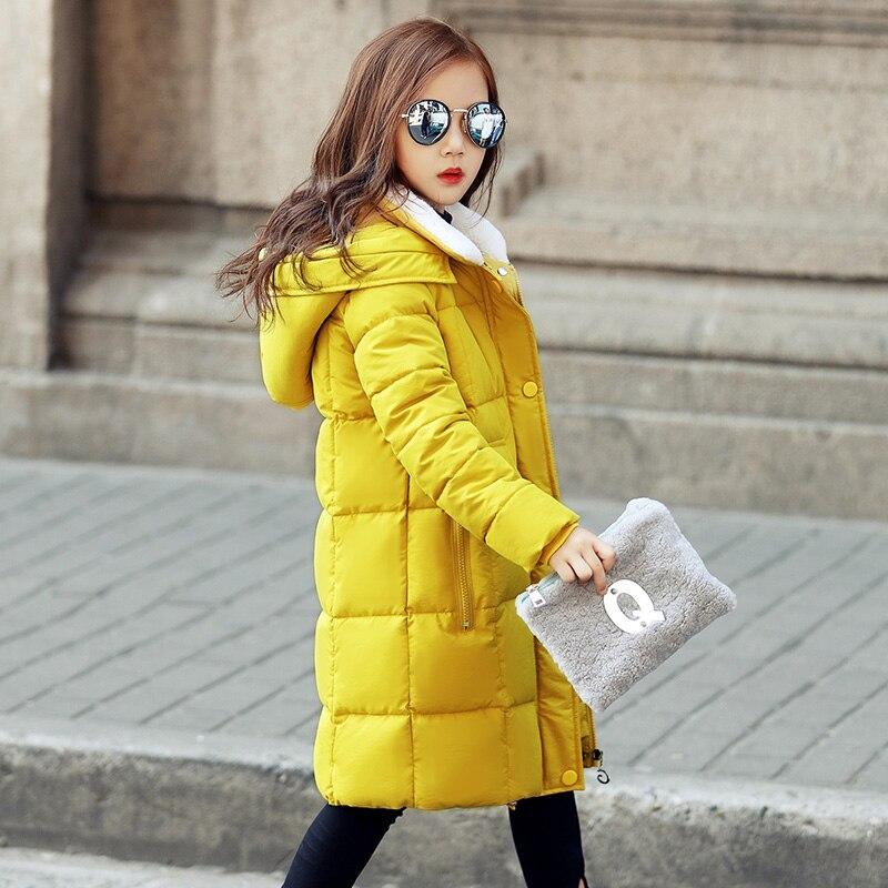 Childrens Girl Winter Coats Kids Girl Winter Jacket Coat Big Girls Warm Hooded Long Outwears Cotton Padded  2017 New ClothesÎäåæäà è àêñåññóàðû<br><br>