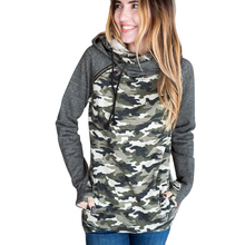Autumn Women Camo Hooded Sweatshirts Camouflage Splice Long Sleeves Zipper Pockets Casual Women Hoodies Top Warm Clothes(China)