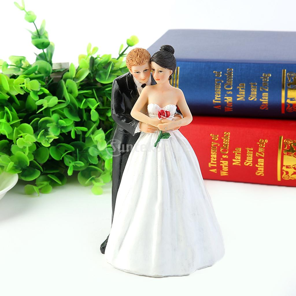 SPMART Romantic Resin Figurine Bride Groom Hug for Wedding Cake Toppers Decoration(China)