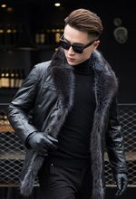 HNM001 Brand  High quality men Sheep skin leather jackets/American raccoon dog Suit collar Business winter Genuine coats/5size