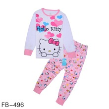 Wholesale 2017 Girl Pink Hello Kitty Pyjamas Sets Kids Cartoon Clothes Children Summer Pajamas For 8-12Y FB-496