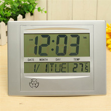 Charminer Calendar Alarm Clock With Digital LCD Thermometer Electronic Temperature Meter Walll Hanging Desk Clock 25x19cm