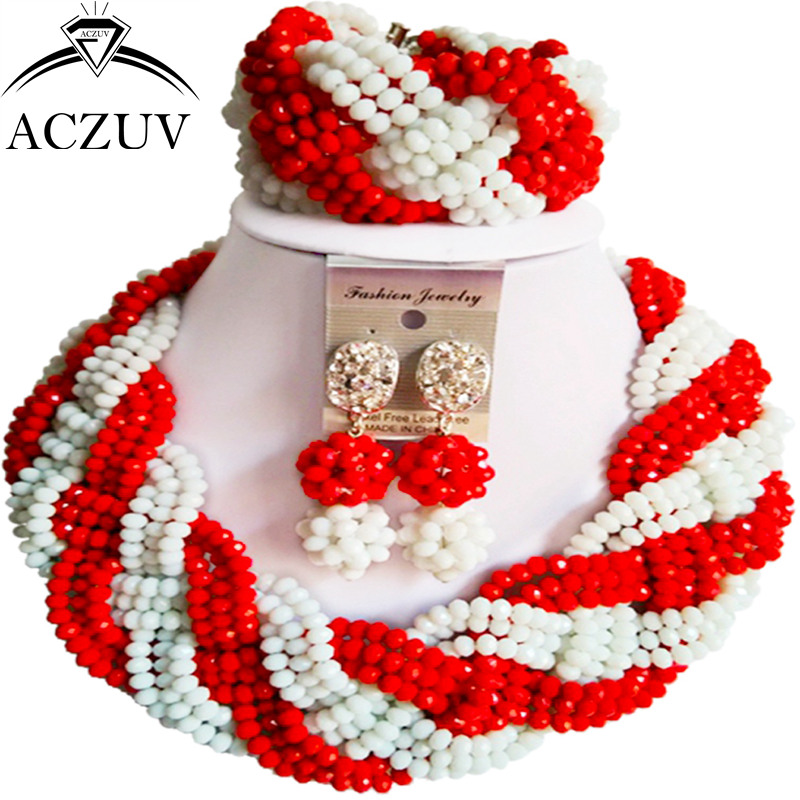 ACZUV Latest Nigerian Wedding Beads African Jewelry Set for Women Opaque Red and White Crystal Twisted Necklace A12R008
