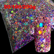 3D Acrylic Hexagon Sequins Laser Mix Size Sparkling Nail Art Powder Decoration Manicure Glitter Powder Nails Art Tools