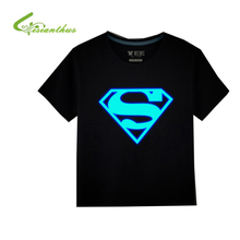 Girls Boys T-Shirts 100% Cotton Summer Children Superman Batman Tops Kids Hip Hop Neon Print Party Club Night Light Punk Top Tee