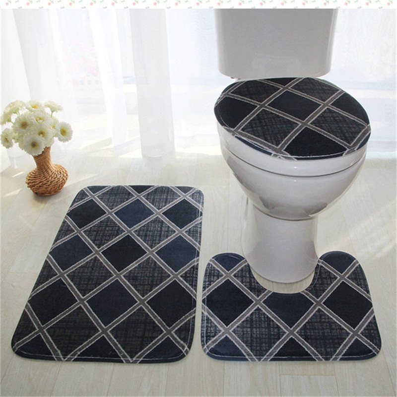 3PCS Marble Print Non-Slip Mats Pedestal Rug Toilet Seat Cover Bathmat Rug Sets