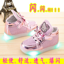 2016 children lighted casual shoes high rhinestone hello kitty shoes for girls baby kids shoes mesh travel shoes girls boots