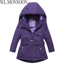 Girls Jacket with Sashes Cotton-padded Girls Winter Coat 2017 Brand Hooded Wind-proof Kids Winter Jacket Children Outerwear