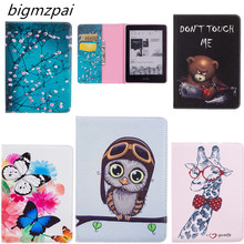 "Colorful Print PU Leather + Soft TPU Back Cover Cute Book Protective Case For Amazon Kindle Voyage 6"" Ereader Ebook tables case"