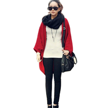 6 Colors 2017 Fashion Women Loose Shawl Batwing Sleeves Lady Knit Sweater Coat Woolen Women Cardigans Jacket Red/Black Free Size