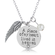 angle Wings Necklaces Women Imitation pearls Charms Necklace a piece of my heart lives in heaven gift for daughter girlfriend