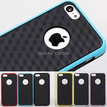 New Style Luxury Matte 3D vision diamond cuboid cell grid Soft TPU back cover protector shell Case for iPhone 5C 6 colors