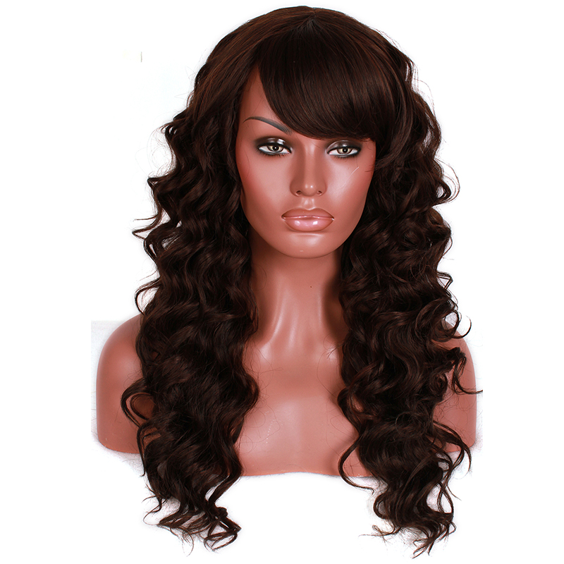 L-email Wig Fashion Women Lady Synthetic Hair Long Dark Brown Curly Wig<br><br>Aliexpress
