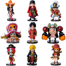 9Pcs Anime One Piece Action Figure with Base Set The Straw Hats Luffy Roronoa Zoro Sanji Chopper PVC Model Toy Car Decoration