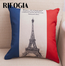 RIEOGIA 45X45cm Pillow Case France Flag Eiffel Tower Linen Decorative Pillow Cover Home Textile