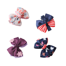 Hair Bows Ribbon Bowknot Hair Clips barrettes Kids Boutique Flowers Hair Bow Fascinator FJ0013A-FJ0013D(China)