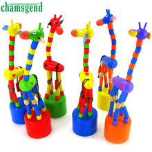 Chamsgend Kids Intelligence Toy Dancing Stand Colorful Rocking Giraffe Wooden Toy Levert Dropship Aug11(China)