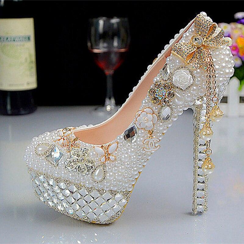 New Fashion Crystal Pearl Wedding Shoes Ultra High Heels Platform White Bridal Formal Dress Shoes Rhinestone Dress Shoes<br><br>Aliexpress
