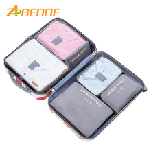 ABEDOE 6Pcs/Set Waterproof Travel Clothes Storage Bags for Women Makeup Heart Polyester Travelling Organizer Bath Wash Makup Box(China)