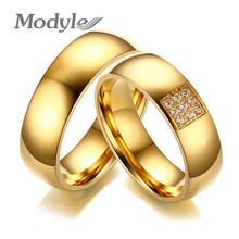 Modyle 2017 Simple Wedding Rings for Women Men Elegant AAA CZ Stones Gold-color Ring Alliance Promise Engagement Band Gift(China)