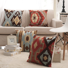 Kilim Pattern Cushion Cover Embroidery Throw Pillow Cover For Sofa Car Chair Cushion Case Decorative 45x45cm Without Stuffing(China)