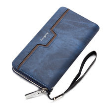Top Sale 1 Navy blue PU leather men long section business leisure zipper hand bag package wallet carrying bag
