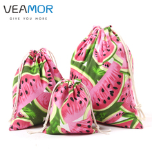 VEAMOR Candy Gift Bags for Children Canvas Watermelon Beam Port Drawstring Pouch Small Jewelry Storage Bags 3pcs/set VB155(China)