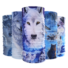 Multifunctional Snow Wolf Pattern Scarf Magic Animal Headband Headwear Muffler Bandana Neck Face Mask Headscarf Scarves