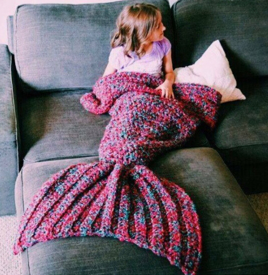 Handmade Mermaid Tail Blanket for Adults And Kids Wool Knitted Mermaid Blanket Super Soft Cotton Children Swaddle Sleeping Bag<br>
