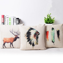 Watercolor Plumage and Indian chief cap Linen Cotton Pillow / Home Decor Cushion /Decorative Cushions 45X45CM Throw Pillows