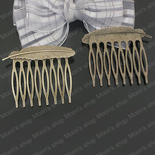 Wholesale 52*45mm Antique Bronze Feather Copper+iron Hair Combs Findings Accessories 10 pieces(JM3277)